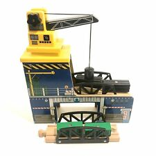 Wooden Magnetic Crane w/Cargo and Wood Train Car Bridge Thomas Compatible