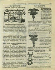 1932 PAPER AD 4 PG Blue Grass Hay Carrier Trolley Ney's Climax Hudson Feed Truck