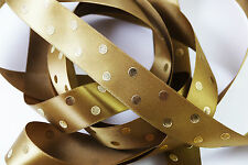Dark Brown & Gold Metallic Polka Dot Ribbon - 25mm width - Cut to Length 3 FOR 2