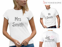 PERSONALISED WEDDING JUST MARRIED HEARTS MENS WOMENS T-SHIRT SET TSHIRTS D2