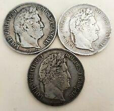 Lot de Trois 5 Francs Louis Philippe I 1834 A 1834 L 1839 W