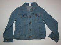 New Carter's Girls 6 6X Year Denim Blue Jean Jacket Heart on Collar Button Down