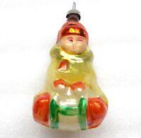Antiker Russen Christbaumschmuck Glas Weihnachtsschmuck Ornament Kid on Sledge