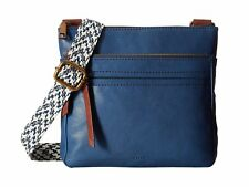 NWT FOSSIL Leather COREY Crossbody Bag MARINE BLUE & BROWN Tote Satchel Handbag