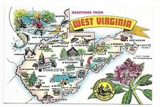 Map of West Virginia continental size postcard