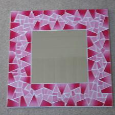 Superba realizzati a mano mosaico specchio con colore rosa 40x40 cm di larghezza