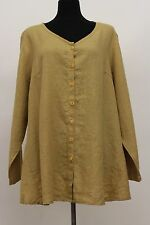 FLAX BOLD 2015 LINEN PLUS SIZE FLOURISH CARDI SHIRT BUTTON BLOUSE BAMBOO 1G 1X