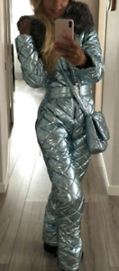 Man Woman Winter Ski Suit Overall Snow Silver Metallic Argentum Outwear Outfit