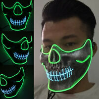 AM/_ LED Luminous Voice Control Lighting Halloween Cosplay Flashing Face Mask Hot