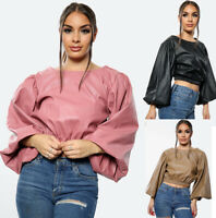 New Women Ladies Floral Pattern Wrap Silky Feel Satin Blouse Bodysuit Body Top