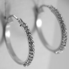 WHITE GOLD EARRINGS 750 18K CIRCLE DIAMETER 2 CM DOUBLE ROW CUBIC ZIRCON