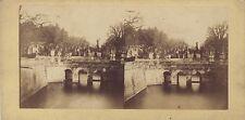Pont ancient Ville à identifier Stéréo Stereoview Vintage ca 1860
