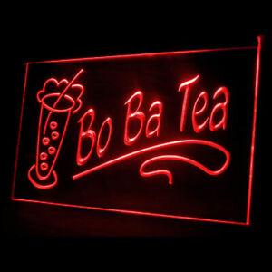110084 OPEN Boba Tea Bo ba Bubble Pearls Drink Display LED Light Neon Sign