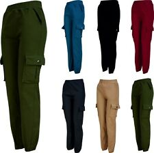 Ladies Combat Trousers Stretch Cargo Elasticated Fleece Lined Cotton Blend Size