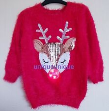 Donna Women/'s Bambi Deer Christmas Jumper 3D nappa Sciarpa Natale Maglione Top