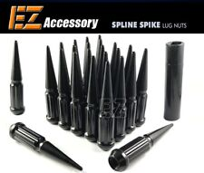 24 PC Solid Spline Spike Lug Nuts Kit | Black | 12x1.5 | Honda | with Key