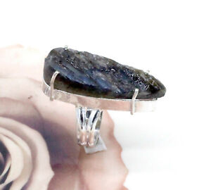 "Rough Labradorite Gemstone 925 Sterling Silver Handmade Jewelry Rings S-6.50"""