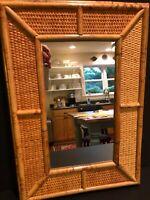 Vintage Mid-Century Modern Bamboo Wicker Mirror Rectangular Wall Mounted