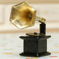 1PC Mini Vintage Phonograph Record Player .Alloy For 1:12 Dollhouse