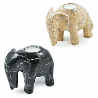 Elephant 6 Inch Decorative Tea Light Marble Fossilstone Onyx Boxed Candle Holder