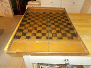 1800S LARGE SIZE CHECKERBOARD WITH ORIGINAL BLACK/MUSTARD PAINT END TRAYS NICE