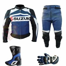 SUZUKI GSX BLUE MOTORCYCLE MOTORBIKE GEARS 4 PIECE COWHIDE LEATHER ARMOURED SUIT