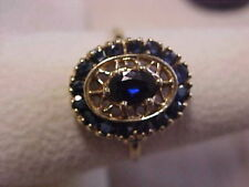 *ESTATE*NATURAL DEEP BLUE SAPPHIRE COCKTAIL RING 10K YELLOW GOLD sz8.5 *BUY NOW*