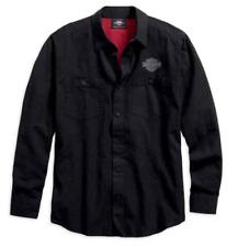 HARLEY-DAVIDSON - Mens Cotton Linen Blend Button-Down Long Sleeve Shirt