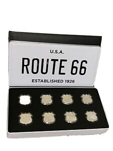Route 66 Complete Set 8 x 1oz Shield Shape Silver Rounds in Box