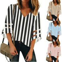Women's V Neck Striped Mesh Panel Blouse 3/4 Bell Sleeve Casual Loose Top Shirt