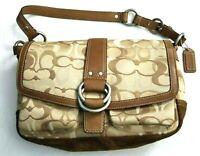 Coach DO6Q-10144 Signature Jacquard Beige Canvas Bag Brown Suede Leather Trim