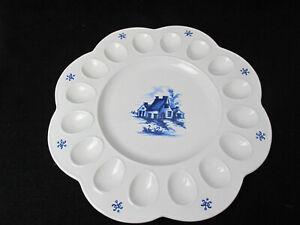 "Vintage Pottery Egg Tray Blue/White  Serving Dish 16 Eggs Retro USA 13"" BD 56"