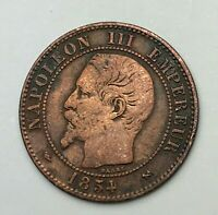 Dated : 1854 B - France - 2 Centimes - Deux Centimes Coin - Napoleon III