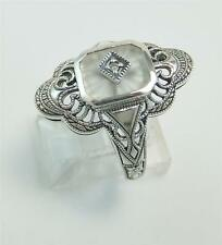 Art Deco Antique Camphor Glass Ring Diamond Sunray Cut Size 8 Stunning Sterling