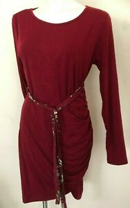 Coolmee Womens Maternity Casual Ruched  Irregular Bodycon Dress,Burgundy, Large