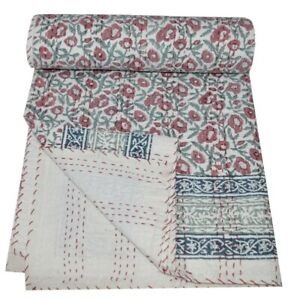 Indian Hand Block Print Kantha Quilt Throw Reversible Bedspread King Size Art