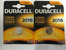 2 Duracell Duralock DL2016 3V Lithium Coin Cell Batteries CR2016 BR2016 Genuine