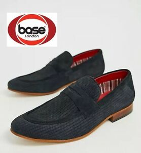 Base London Mens Navy Suede Leather Slip On Shoes New RRP £75 UK Sizes 9 10 11