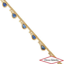 Estate 2.95ct Sapphire 18K Yellow Gold Fancy Dangle Charm Bracelet NR