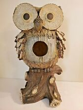 Rustic Wood-Like Resin Owl Bird House Statue Garden Home Decor Nature