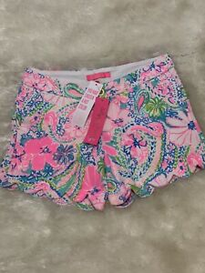 NWT LILLY PULITZER 2,16 KNIT BUTTERCUP SHORTS FLOCK FULL OF FUN