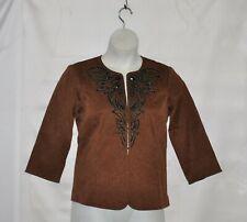 Bob Mackie Jeweled & Embroidered Jacquard Jacket Size S Brown