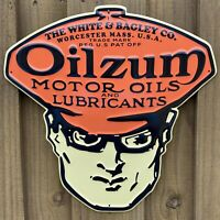 VINTAGE OILZUM EMBOSSED METAL SIGN PORCELAIN USA MOTOR OIL GAS MANS HEAD SERVICE