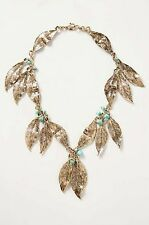 Nip Anthropologie Oversize Leaf Art Deco Gilded Folia Necklace Statement
