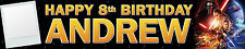 2 X PERSONALISED BIRTHDAY BANNERS STAR WARS FORCE AWAKENS WITH PHOTO