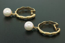 14K Solid Gold Bamboo Style Hoop Earrings with Natural Cultured Pearl Dangle