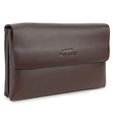 New Men's genuine leather clutch hand bag purse passport card coin wallet brown