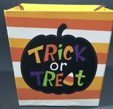 Halloween Candy Bag Box Trick Or Treat Multi-Colored Striped Kids All Ages  NEW