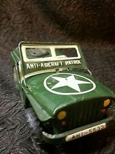 vintage tin anti aircraft patrol jeep friction powered made in japan 1950's
