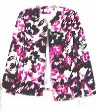 Sz 10 ~ NWT$70 Dressbarn Black, Pink & White Floral Print Dress Blazer Jacket